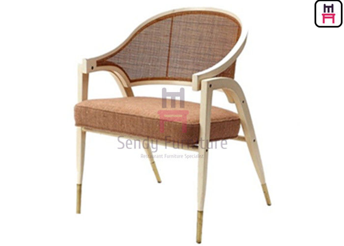 Black Ash Wood Frame Leather Cushion Armrest Dining Chair With Natural Rattan Backrest
