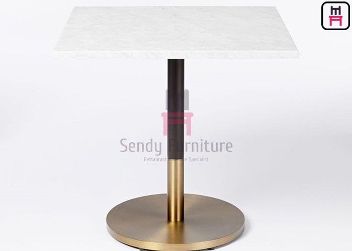 Square Contract Marble Meeting Wooden Dinning Table Dual Color Iron Base Material