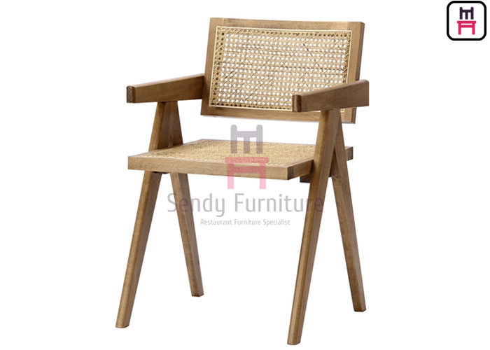 Southeast Asian Style Solid Wood Frame with Hand-Made Rattan Backrest Cane Dining Chair